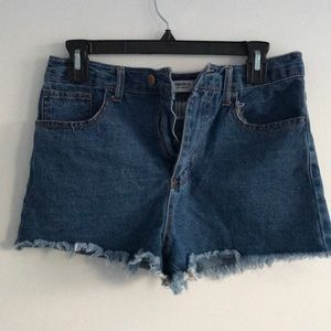 High waist blue denim shorts